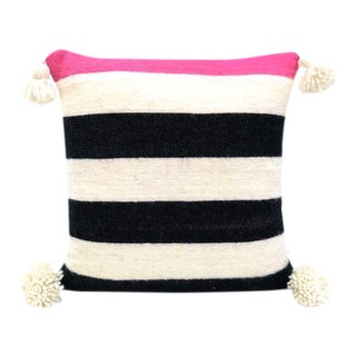 Pink Accent Moroccan Wool Pillow