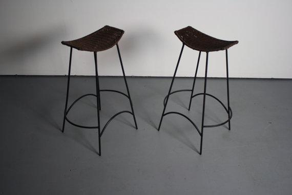 Counter Height Wicker Amp Iron Bar Stools A Pair Chairish