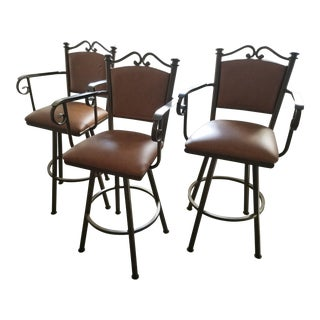 Swivel Leather & Metal Bar Stools - Set of 3