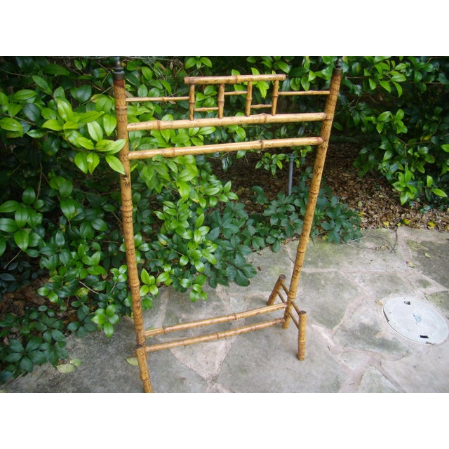 Antique Victorian English Scorched Bamboo Towel / Quilt Rack - Image 6 of 6