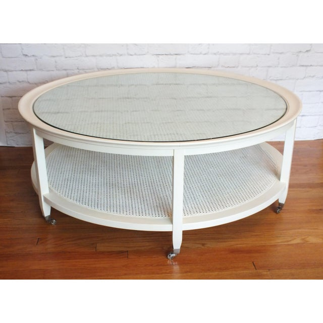 Mid-Century Round White Caned Coffee Table - Image 11 of 11