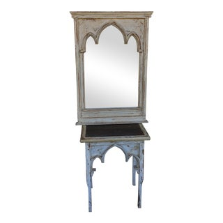 Vintage Shabby Chic White Arched Table & Mirror - A Pair