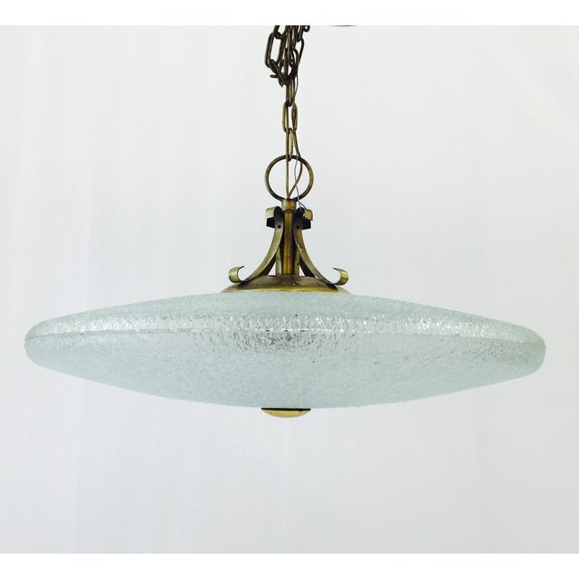 Vintage Mid-Century Glass & Brass Disk Pendant Light - Image 3 of 11