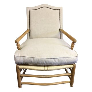 Linen Upholstered Oak and Woven Chair