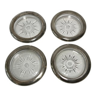 Sterling Silver & Glass Coasters - Set if 4
