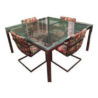 Roche Bobois Modern Chrome & Glass Dining Set - Set of 5