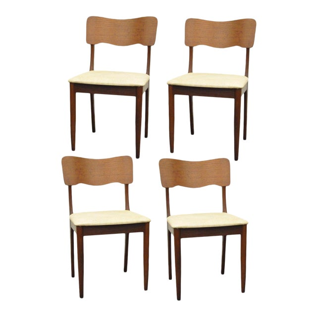 Gustav Bahus Norway Mid Century Danish Modern Teak Ribbon Dining Chairs - Set of 4 - Image 1 of 11