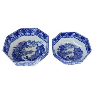 Flow Blue Chariots Serving Bowls - Pair