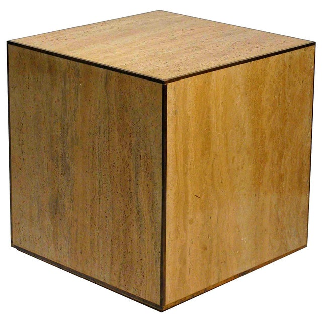 Travertine & Brass Cube Table - Image 1 of 4