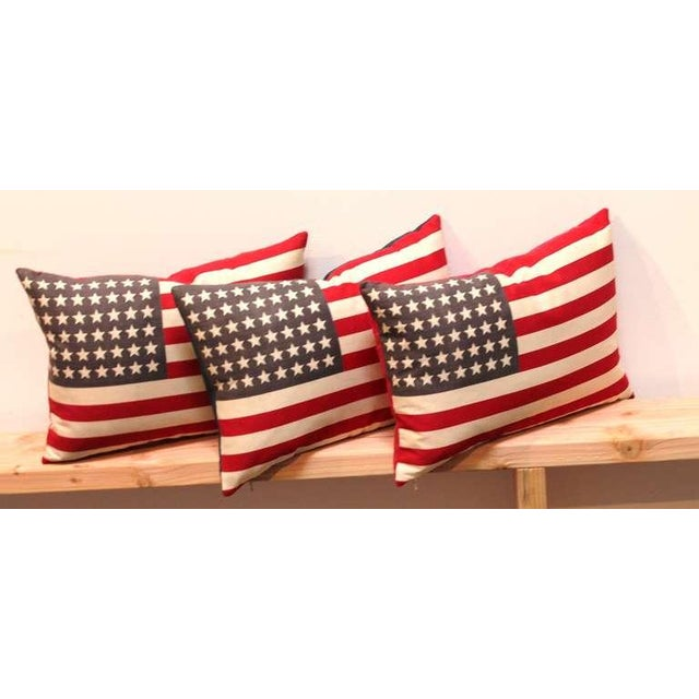 Image of 48 Star Parade Flag Pillows with Linen Backing