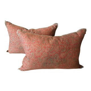 Pair of Fortuny Coral/Light Gold Pillows