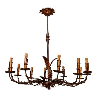 Italian Black Iron & Gilt Metal 12 Light Chandelier