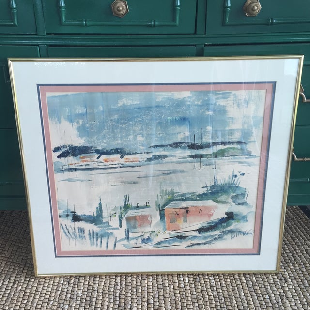Mid Century Modern Alfred Birdsey Abstract Modernist Ocean Seascape Watercolor Painting Signed - Image 3 of 11