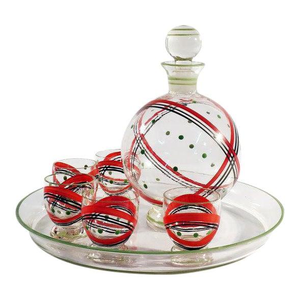 Czech Glass Decanter Set - Set of 7 - Image 1 of 6