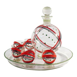 Czech Glass Decanter Set - Set of 7
