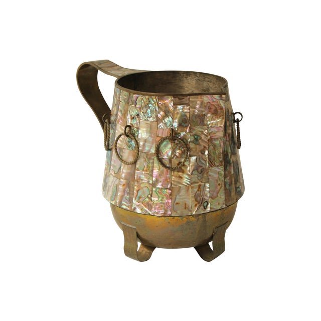 Salvador Teran Abalone Shell & Brass Pitcher - Image 1 of 7