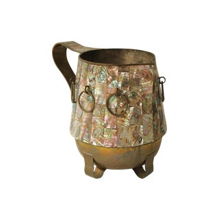 Salvador Teran Abalone Shell & Brass Pitcher