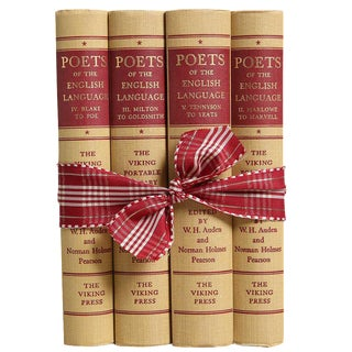 Vintage Book Gift Set: Poetry in Tan & Red - Set of 4