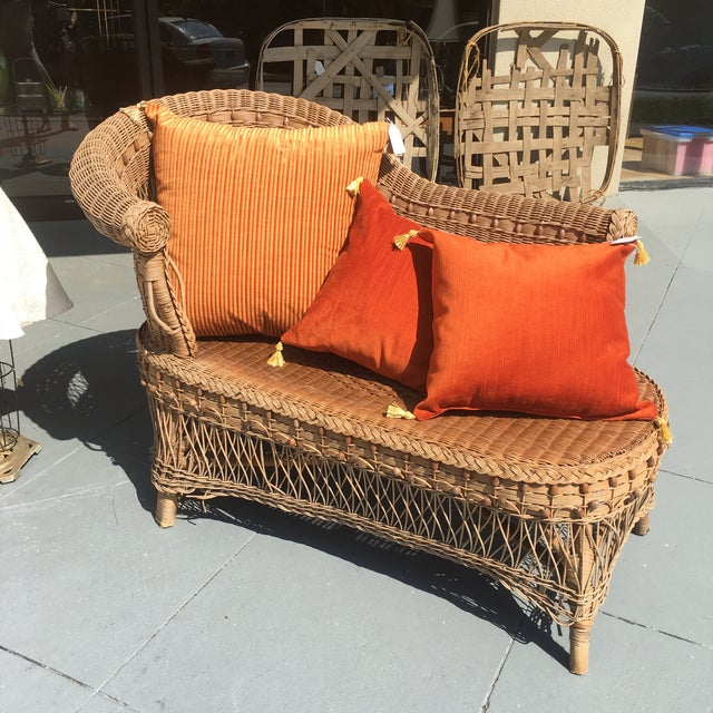 Vintage Boho Wicker Chaise Lounge - Image 3 of 4