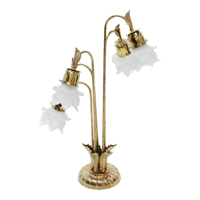 Vintage Brass Lamp With Rose Petal Shades - Image 1 of 6