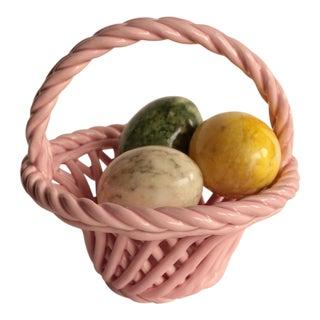 Italian Alabaster Stone Eggs in Ceramic Basket