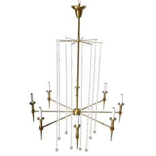 Solid Bronze Parzinger Style High Style Chandelier with Crystal