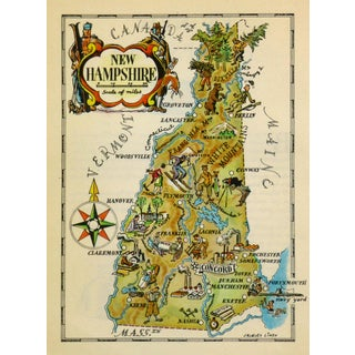 Vintage 1946 New Hampshire Pictorial Map