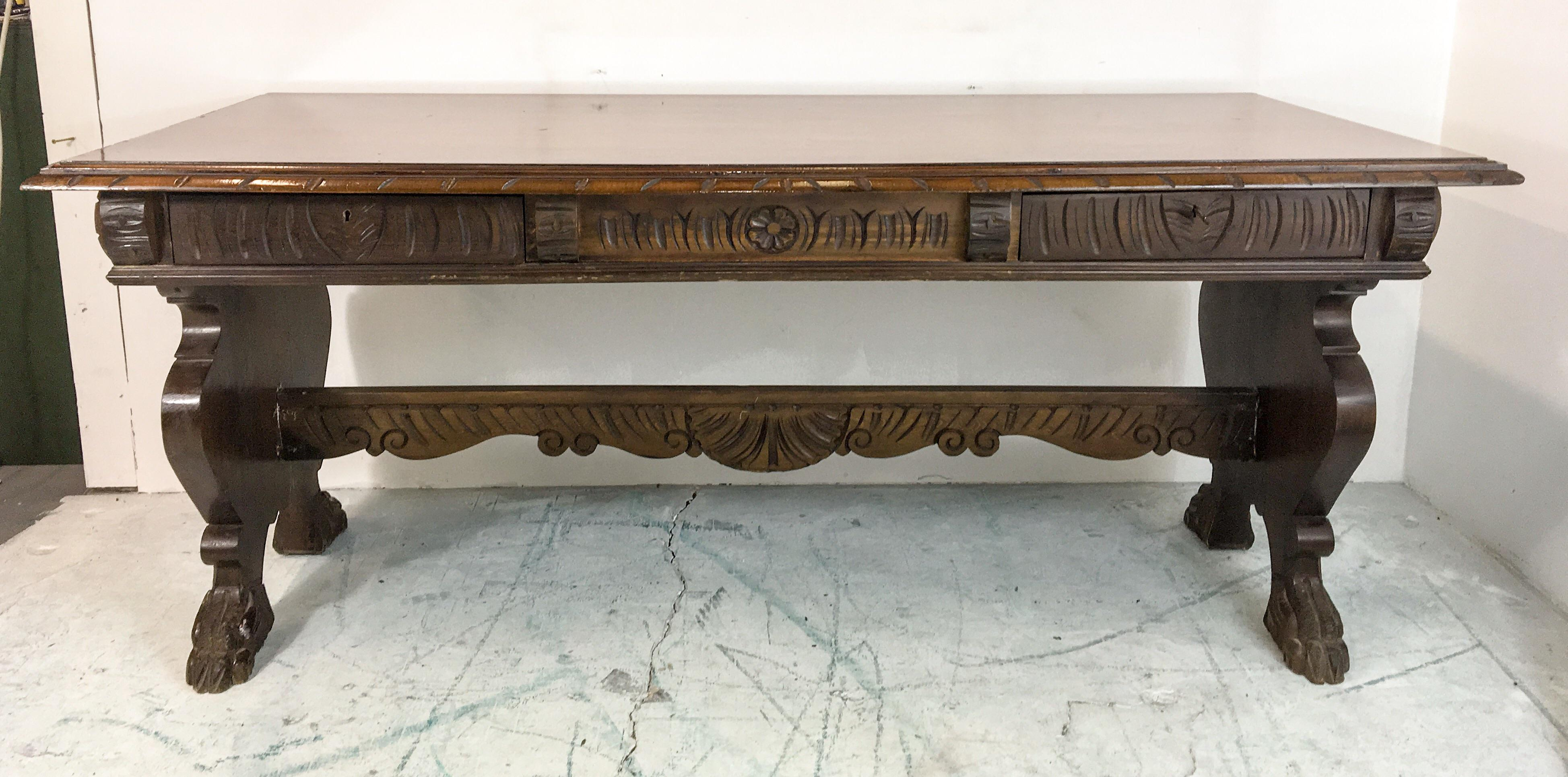 1920u0027s Carved Walnut Library Table / Desk   Image 7 ...