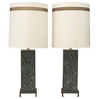 James Mont Style Ebonized Oak Table Lamps - A Pair