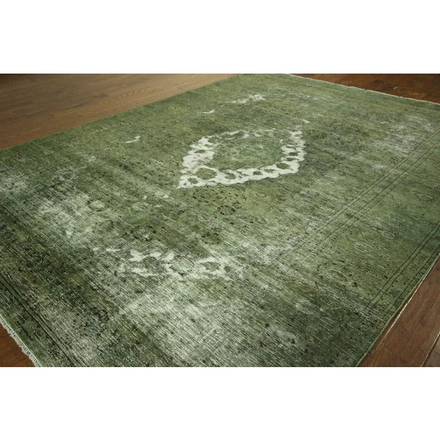 Traditional Green Overdyed Area Rug - 8' x 11' - Image 4 of 10