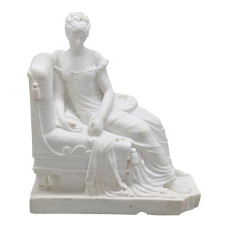 Carrera Marble Statue of Roman Woman