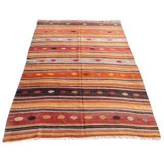 Vintage Turkish Kilim Rug - 6′1″ × 9′