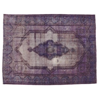 "Vintage Persian Overdyed Purple Rug - 9'9"" X 13'"