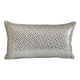 New Silver & White Woven Pillow Case