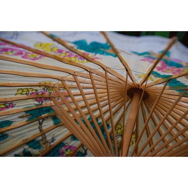 Vintage Asian Rice Paper Floral Umbrella - Image 8 of 10