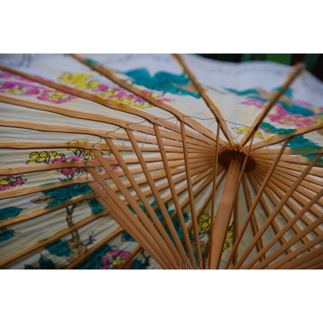 Image of Vintage Asian Rice Paper Floral Umbrella