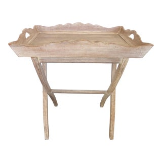 Rustic Style Wood Tray With Folding Stand