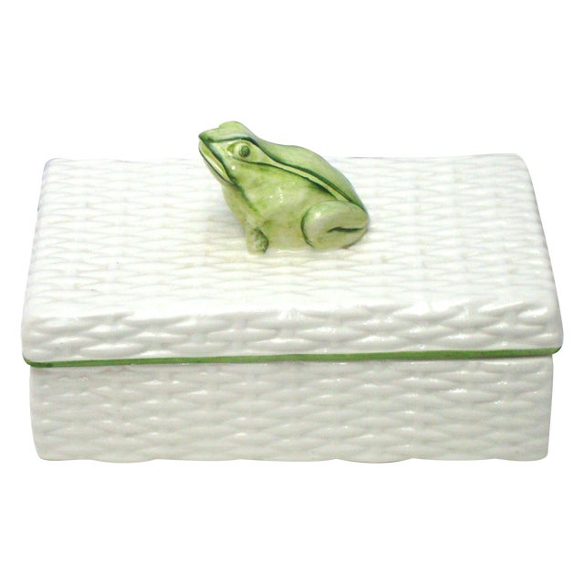 Italian Porcelain Ceramic Wicker Frog Box - Image 1 of 11