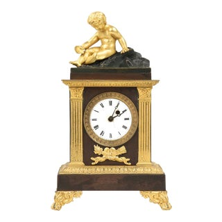 French Gilt & Bronze Mantel Clock