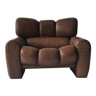 Large Scale 1970s Leather Lounge Chair