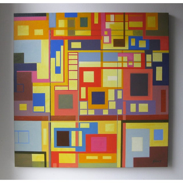 """Homage to the Squares"" Original Oil Painting - Image 2 of 4"