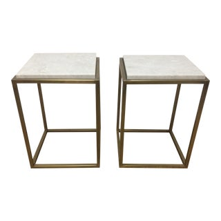 Brass & Marble Side Table - A Pair