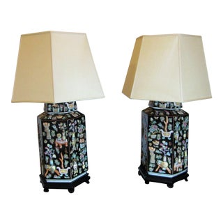 Hexagonal Chinoiserie Black Lamps With Shades - A Pair