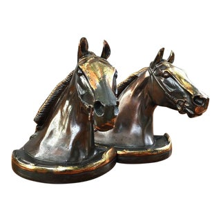Glady's Brown Bronze Equestrian Horse Head Bookends - Pair