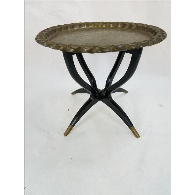 Folding Middle Eastern Travel Table With Brass Top - Image 2 of 5