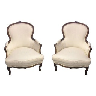 Traditional Cream Armchairs - A Pair