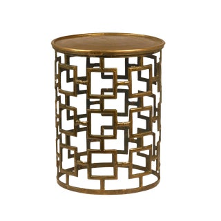 Cut Out Brass Drum Side Table