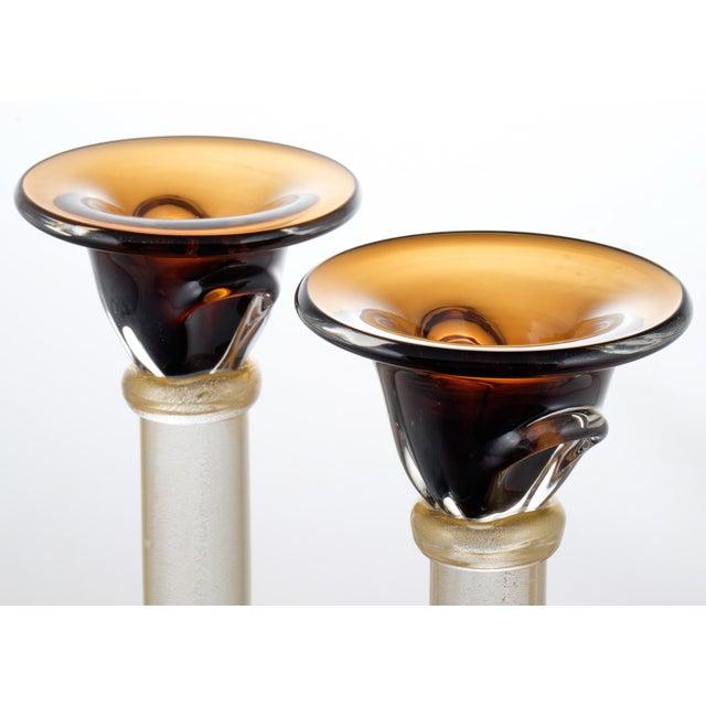 Murano Amber & Avventurina Glass Candlesticks- A Pair - Image 6 of 10