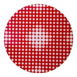 Modern Round Red & White Plexiglass Op Art Piece
