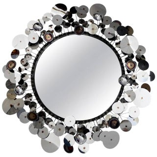 "Curtis Jere ""Raindrops"" Silver Disc Sculpture Wall Mirror by Artisan House"
